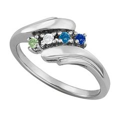 Filigree Lined Family Birthstone Mother S Ring With 1 2 3