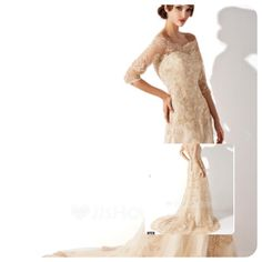 This an a-line/princess off-the-shoulder chapel train tulle lace wedding dress for $284.99 and it's 50% off.found on JJ'S house. Hope you like.