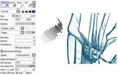 sai pencil settings tutorial | Tumblr
