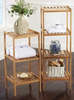 Amazon Com Bamboo Bathroom Storage Shelf Medium By Collections Etc Furniture Decor