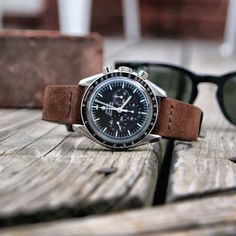 B & R Bands Mocha Vintage Suede on the Men's Watches, Cool Watches, Simple Watches, Elegant Watches, Best Watches For Men, Luxury Watches For Men, Omega Moonwatch, Band B, Omega Speedmaster