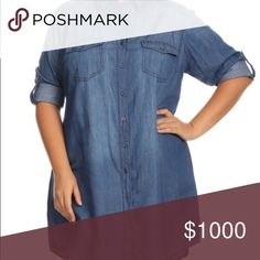 "Plus Size Denim Shirt Dress Dark Wash The shirt dress is a MUST-HAVE for every season! Belts, jackets, tights or leggings - it's an easy piece to make your own! This has a slight shirttail hem, full button front and sleeves that convert from 3/4 to half with a button and tab. 1X: Bust 24"", Waist: 23"", Length 37"". 2X: Bust 25"", Waist 24"", Length 38"". 3X: Bust 26"", Waist 25"", Length 39"". ALSO LISTED IN LIGHT WASH. ChicBirdie Dresses"