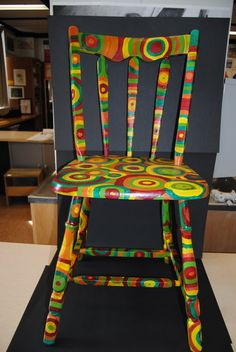 May have to repaint our antique chair like this! Its fun colors!