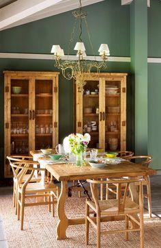 Casinha colorida: Uma casa verde em estilo campestre