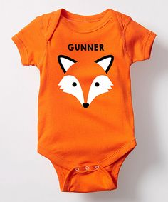Take a look at this Orange Fox Face Personalized Bodysuit today!