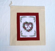 Christmas Bird & Holly Drawstring Bag, Festive Gift Bag, Christmas Applique Sack £6.00