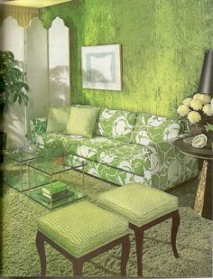 Crushed Green Velvet Walls. by glen.h, via Flickr....I love everything about this room.