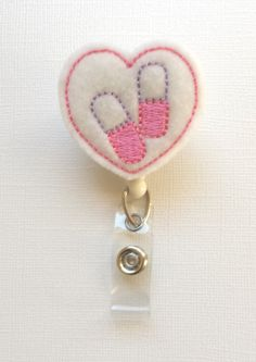 Pharmacy Heart Felt Badge Reel - Retractable ID Badge Holder on Etsy, $6.00