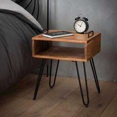 Industrial bedside table Jackie Acacia with open compartment - Home Decor Ideas Industrial Design Furniture, Industrial Interiors, Vintage Furniture, Furniture Projects, Diy Furniture, Furniture Design, Home Decor, Bling Bling, Impression