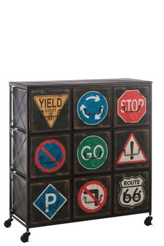 J-Line Ladenkast 'Signs' Malm, Style Loft, Deco Originale, Komodo, Route 66, Magazine Rack, Projects To Try, Signs