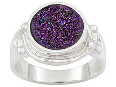 Purple Drusy Round, Sterling Silver Plated Brass Ring