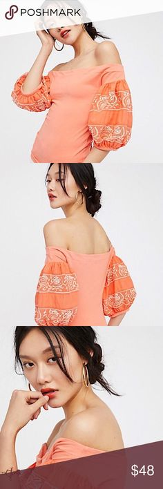 🆕💕Free People Coral Off-shoulder Blouse Top Beautiful Free People off-shoulder top with bell volume 3/4 sleeves and stretchy body.NWT Free People Tops Blouses