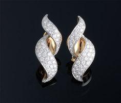 """Oscar Heyman"" Diamond Earrings, platinum and 18K gold."