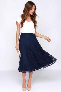 Lace navy blue skirt
