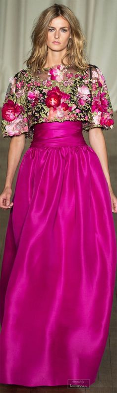 Marchesa.Spring Summer 2015 §--I like the fuchsia color. also the floral is lovely