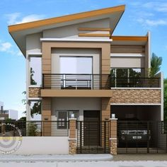 Modern House Designs series MHD-2014010 features a 4 bedroom 2 story house design. The ground floor features a 2 car garage dining, kitchen and 1 bedroom. The second floor contains the 2 bedrooms s…