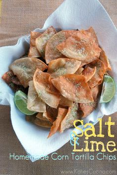 {Salt & Lime} Homemade Corn Tortilla Chips - Katie's Cucina- will bake instead of fry. Healthy Snacks, Snack Recipes, Cooking Recipes, Desserts, Yummy Recipes, Mexican Food Recipes, Yummy Food, Homemade Corn Tortillas, Appetizers
