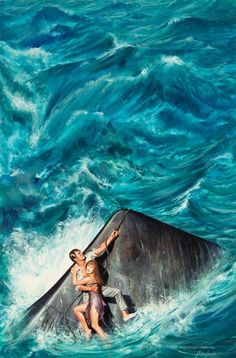 Pulp, Pulp-like, Digests, and Paperback Art, JOHN DUILLO (American, b. 1928). Stranded at Sea, men'sadventure magazine story illustration. Gouache on board. 20.5 x...