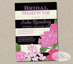 Black & White Stripe Pink Floral Invitation | Bridal Shower, Baby Shower, Birthday Party, Modern, Flowers | Printed or DIY Printable Cards