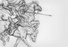 'Horse (Warrior Sketch)' by J.A.W. Cooper. Find out more about Cooper and see more of her awesome art in her interview at wowxwow.com (drawing, figurative, animals, nature, horse, symbolism, narrative, surreal, surrealism, sketch, sketchbook)