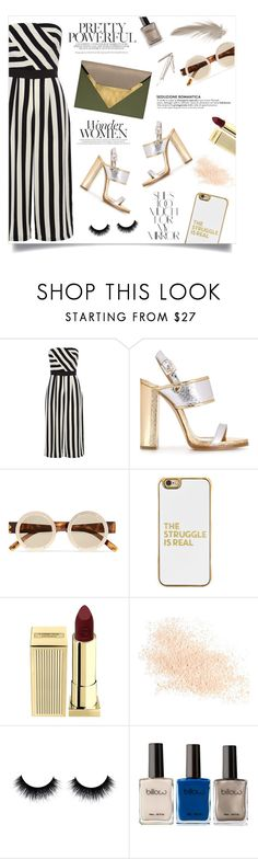 """Striped jumpsuit"" by anchilly23 ❤ liked on Polyvore featuring Coast, Dsquared2, Le Specs, BaubleBar, Lipstick Queen, Eve Lom, Dareen Hakim and Rika"