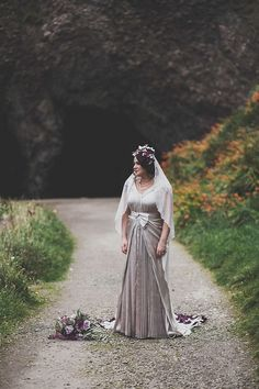 Bride Wears a BespokePleated Gown and Floral Veil for a Charming Coastal Wedding    Photography by http://marymcquillanphotography.com/
