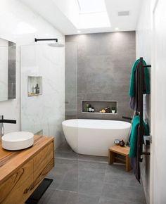 Ensuite bathrooms, grey bathrooms, laundry in bathroom, bathroom renos, the New Bathroom Designs, Bathroom Interior Design, Bathroom Styling, New Bathroom Ideas, Bathtub Ideas, Modern Bathroom Design, Kitchen Ideas, Family Bathroom, Laundry In Bathroom
