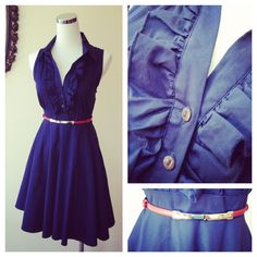 Navy Cotton Ruffle Front Collared Dress