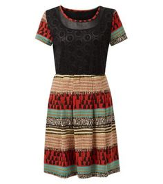 Mandi Red Contrast Lace Abstract Print Skater Dress