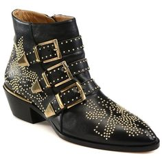 Chlo? Women's Susanna Studded Leather Ankle Boots - Black-Gold (9,905 CNY) ❤ liked on Polyvore featuring shoes, boots, ankle booties, apparel & accessories, black studded boots, studded booties, studded ankle boots, gold ankle boots and black booties