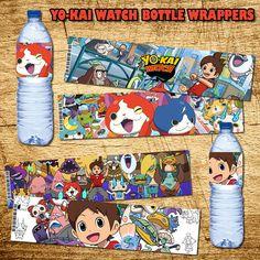 Yo-Kai Watch Birthday Bottle Wrappers - Printable Digital Yo-Kai Watch Bottle…