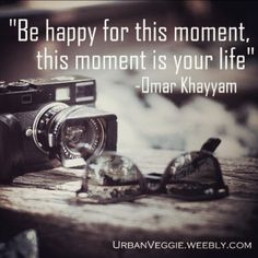 """Be happy for this moment, this moment is your life"" -Omar Khayyam. ❤️"