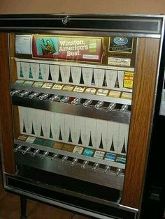 Cigarette Vending Machine - same as pop, snacks, and juice. Put your money in, pull the knob, and out came a pack of cigarettes. My Childhood Memories, Great Memories, 1970s Childhood, Cigarette Vending Machine, Back In My Day, Ol Days, My Memory, The Good Old Days, Those Were The Days