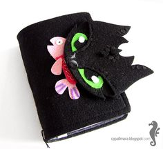 Felt notebook journal like Toothless dragon big by CapallMara, $25.00