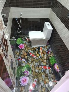 If you are interested in freshening up an old bathroom floor, painting the bathroom tile may be all you need to get the job Painted Bathroom Floors, Painting Bathroom Tiles, Best Bathroom Flooring, Painting Ceramic Tiles, Bathroom Tile Designs, Bathroom Floor Tiles, Old Bathrooms, Guest Bathrooms, Amazing Bathrooms