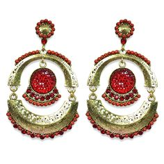 Abida Red Cultural Indian Earrings available on www.vmfashion.com