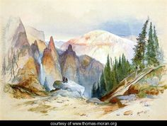Tower Falls and Sulphur Mountain, Yellowstone - Thomas Moran - www.thomas-moran.org