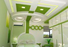 white green POP false ceiling design girls bedroom interior