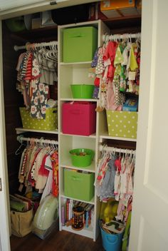 Closet ideas for our girls. Especially if Mariah and Tatum end up sharing a closet..this could work. I would of course color code each rod and cubby to show which is which.