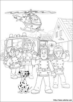 coloring page Fireman Sam on Kids-n-Fun. Coloring pages of Fireman Sam on Kids-n-Fun. More than coloring pages. At Kids-n-Fun you will always find the nicest coloring pages first! Online Coloring Pages, Coloring Pages To Print, Coloring Book Pages, Printable Coloring Pages, Coloring Pages For Kids, Coloring Sheets, Fireman Birthday, Fireman Party, Fireman Sam