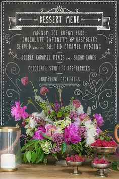 Loving the chalkboard signage trend.  Lovely way to display food, beverage and/or dessert stations.