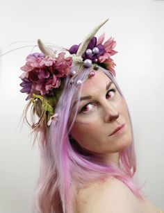 Pastel Faun Real Antler Prong Headpiece by SteamWolf on Etsy, $36.00