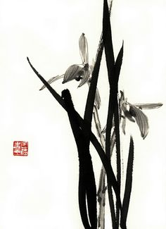 Japanese Painting, Chinese Painting, Japanese Art, Orchid Images, Sumi E Painting, Chinese Artwork, Japanese Calligraphy, Minimalist Painting, Zen Art