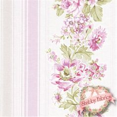 "Wildflowers 752-P by Rachel Ashwell for Treasures by Shabby Chic: Wildflowers is a beautiful collection by Rachel Ashwell for Treasures by Shabby Chic.  100% cotton, 44""/45"" wide.  This fabric features a pink floral stripe design on an off-white background."