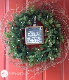 DIY holiday wreath using twig wreath and adding some greenery