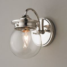 $138 Traditional Clear Glass Globe Sconce polished_nickel