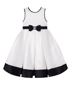Look at this Couture Princess Ivory & Black Pleated A-Line Dress - Toddler & Girls on #zulily today!