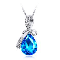 Find More Pendant Necklaces Information about Crystal Necklace Blue Gem Pendant Women Jewelry Water Drop Necklaces Clavicle Ornament Angel Tears Silver Color Chain,High Quality chain link,China chain shop Suppliers, Cheap jewelry lion from Products Sea on Aliexpress.com