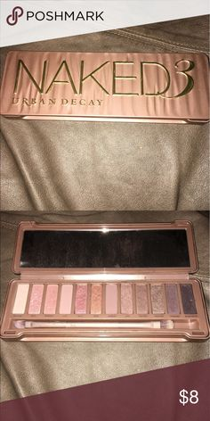 Urban Decay Naked 3 Palette Gently used Urban Decay palette. Brush included. One of the closure snaps is broken, but Palette still snaps closed. Urban Decay Makeup Eyeshadow