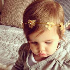 Boho baby headband, flower girl halo, yellow flower crown, newborn photo prop, newborn headband, newborn photography prop, boho flower crown on Etsy, $16.00
